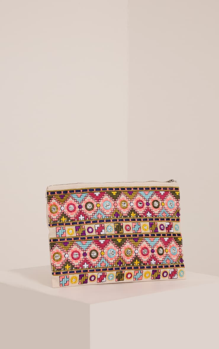 Taima Multi Aztec Patterned Clutch 1