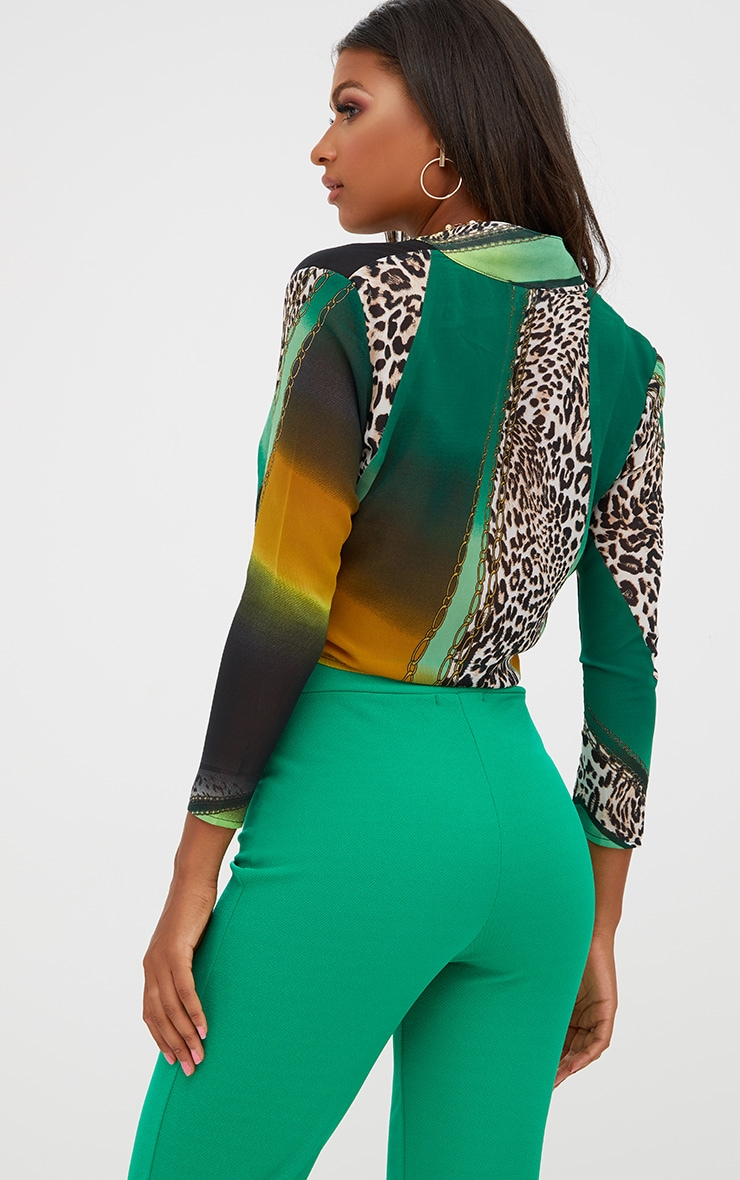 Green Mixed Animal Print Tie Front Blouse 2