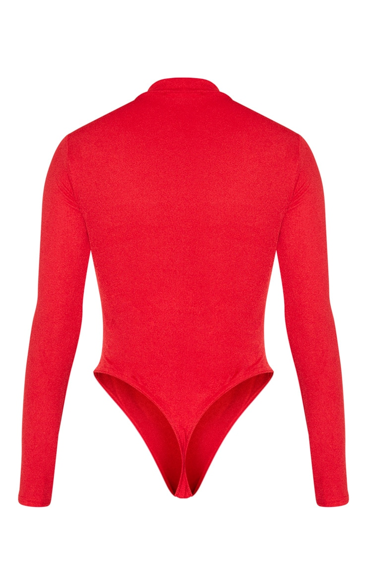 Red Cut Out Detail Crepe Bodysuit 6