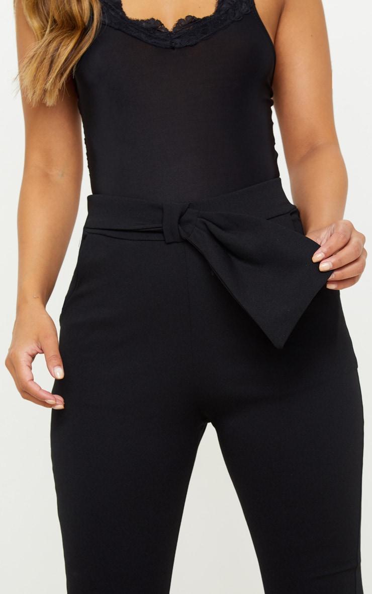 Petite Black Bow Waist Detail Crepe Pants 5