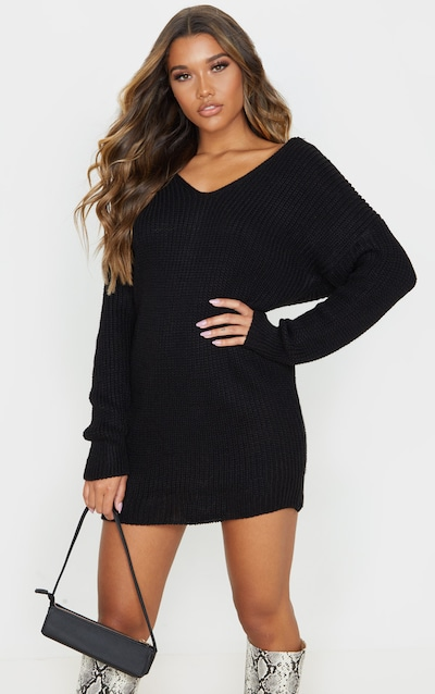 Black Twist Back Jumper Dress