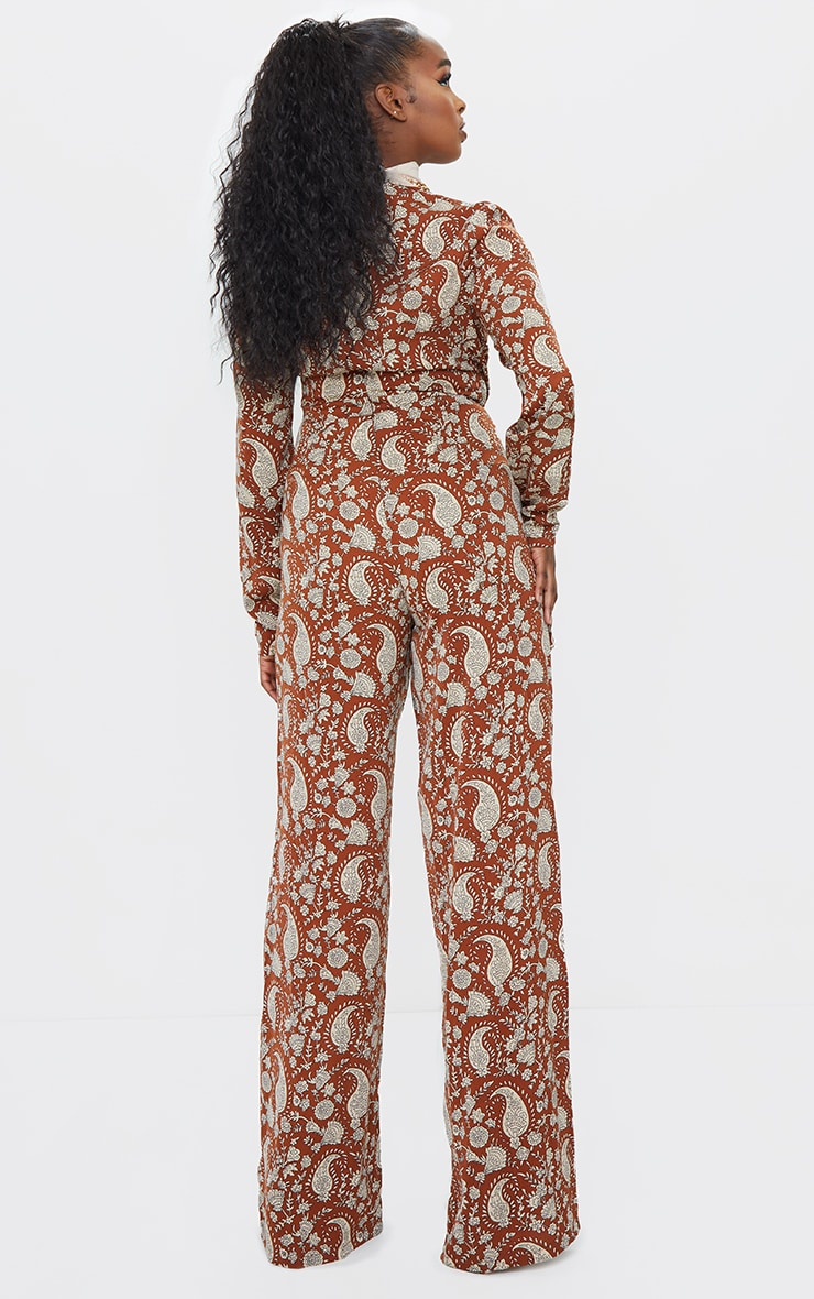 Rust Paisley Ruched V Neck Long Sleeve Jumpsuit 2