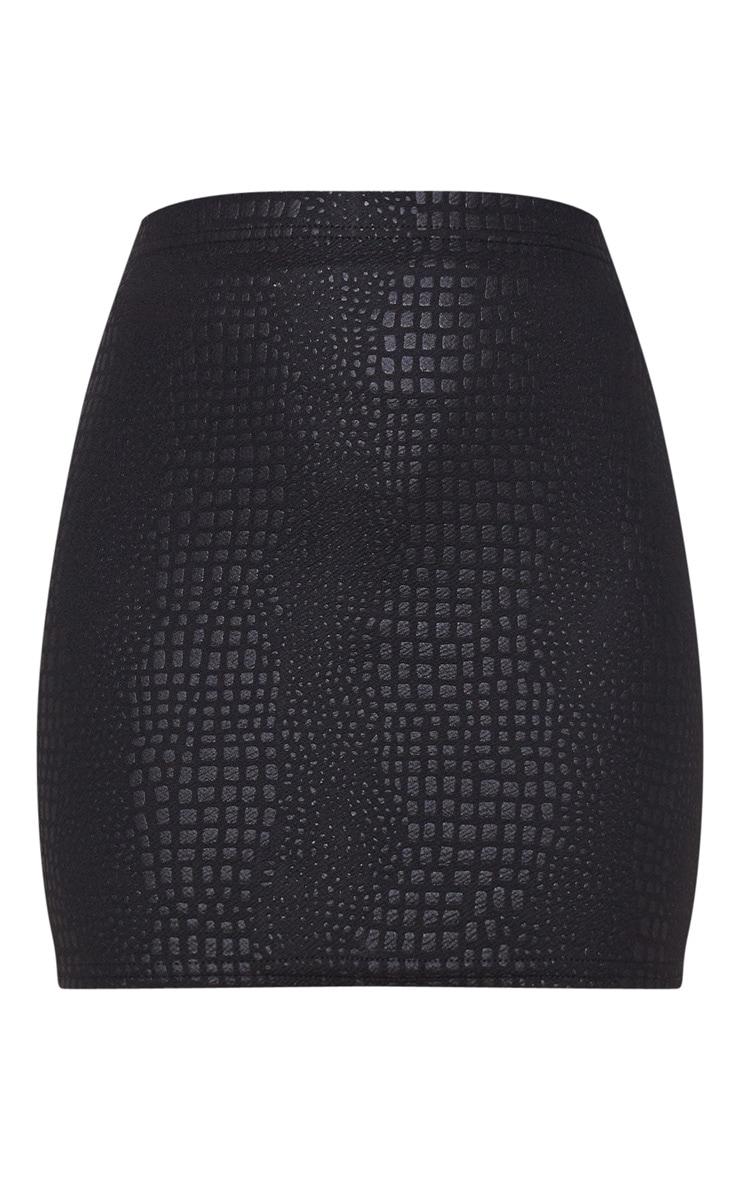 Black Croc Print Bodycon Mini Skirt 6