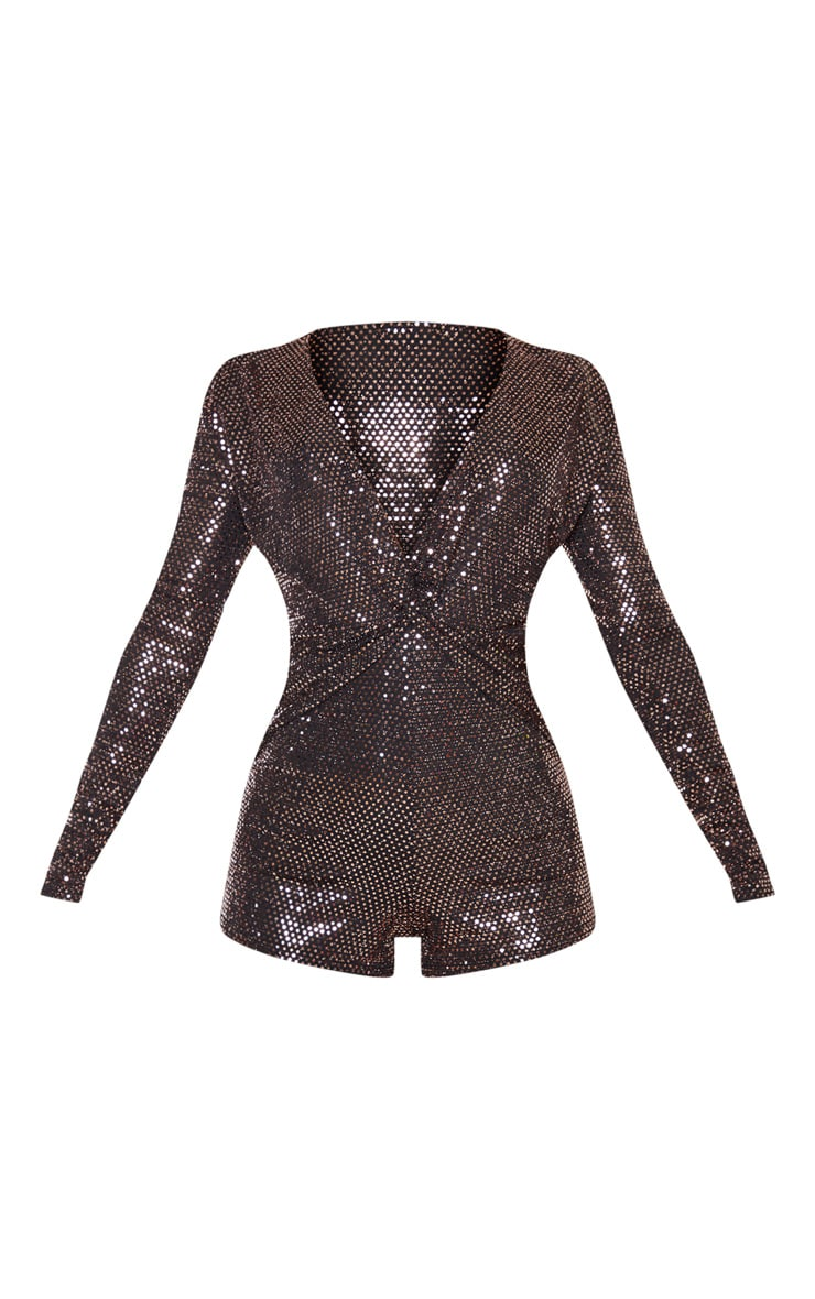 Rose Gold Sequin Twist Front Long Sleeve Playsuit 3