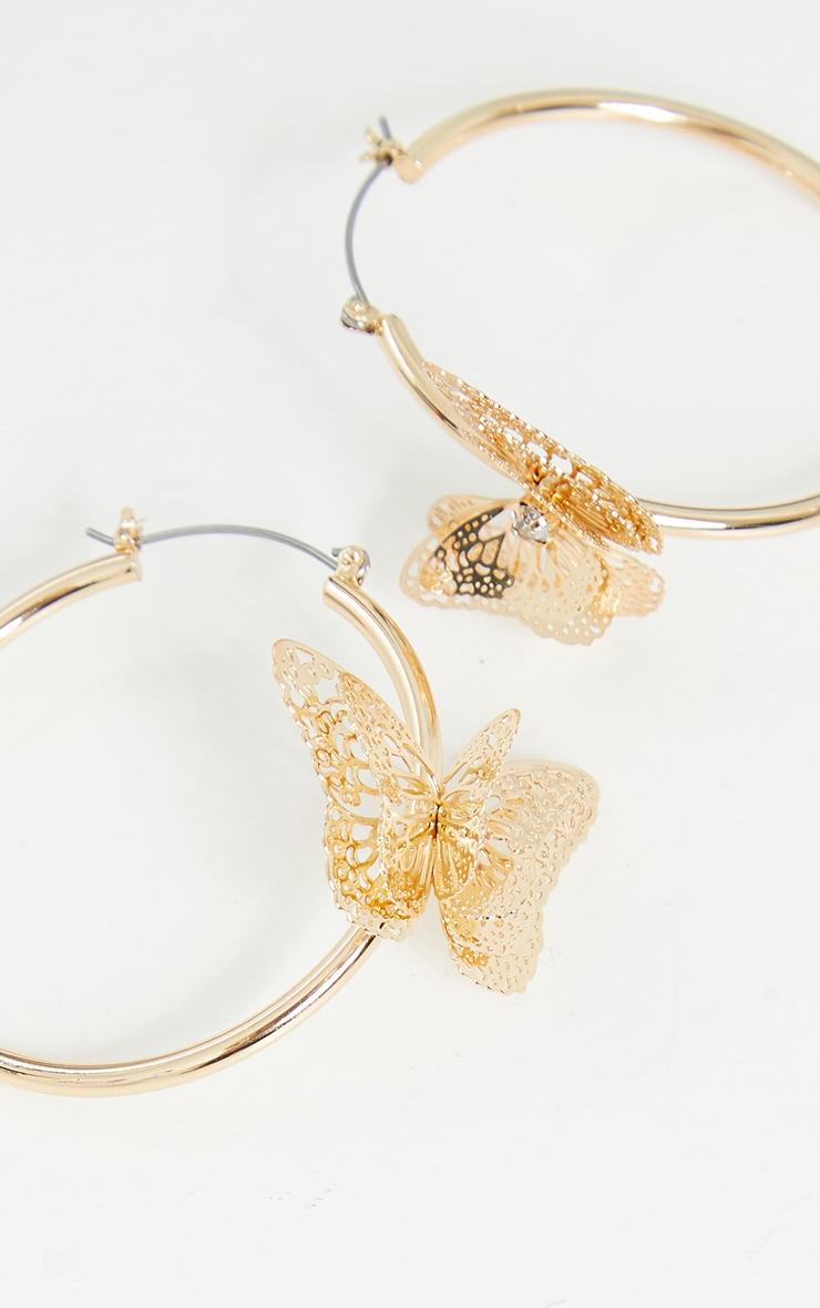 Gold Butterfly Medium Hoop Earrings 2