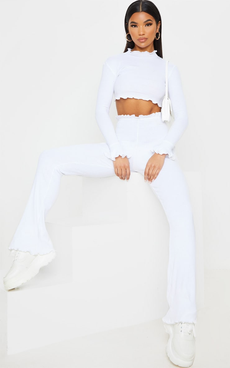 White Rib Frill Detail Long Sleeve Crop Top 4