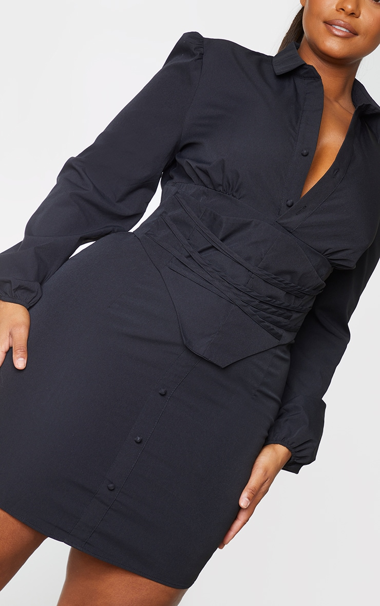 Plus Black Corset Detail Puff Sleeve Shift Dress 4