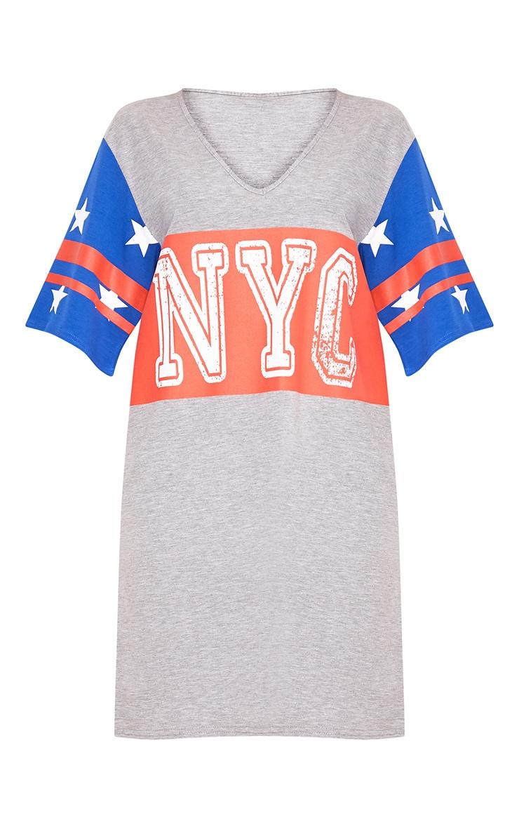 Grey Marl NYC Star T Shirt Dress  2