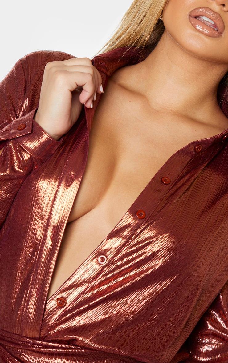 Bronze Metallic Button Front Shirt 5