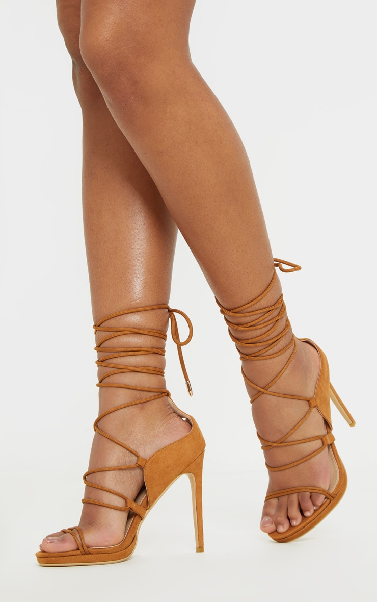 Tan Hiker Lace Up Tie Heeled Sandal 1