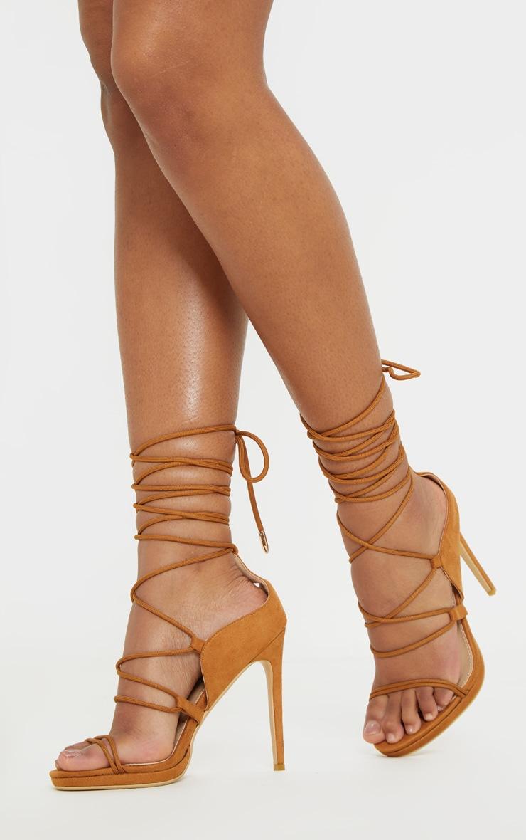 Sandales marron à lacets & talons style randonnée 1