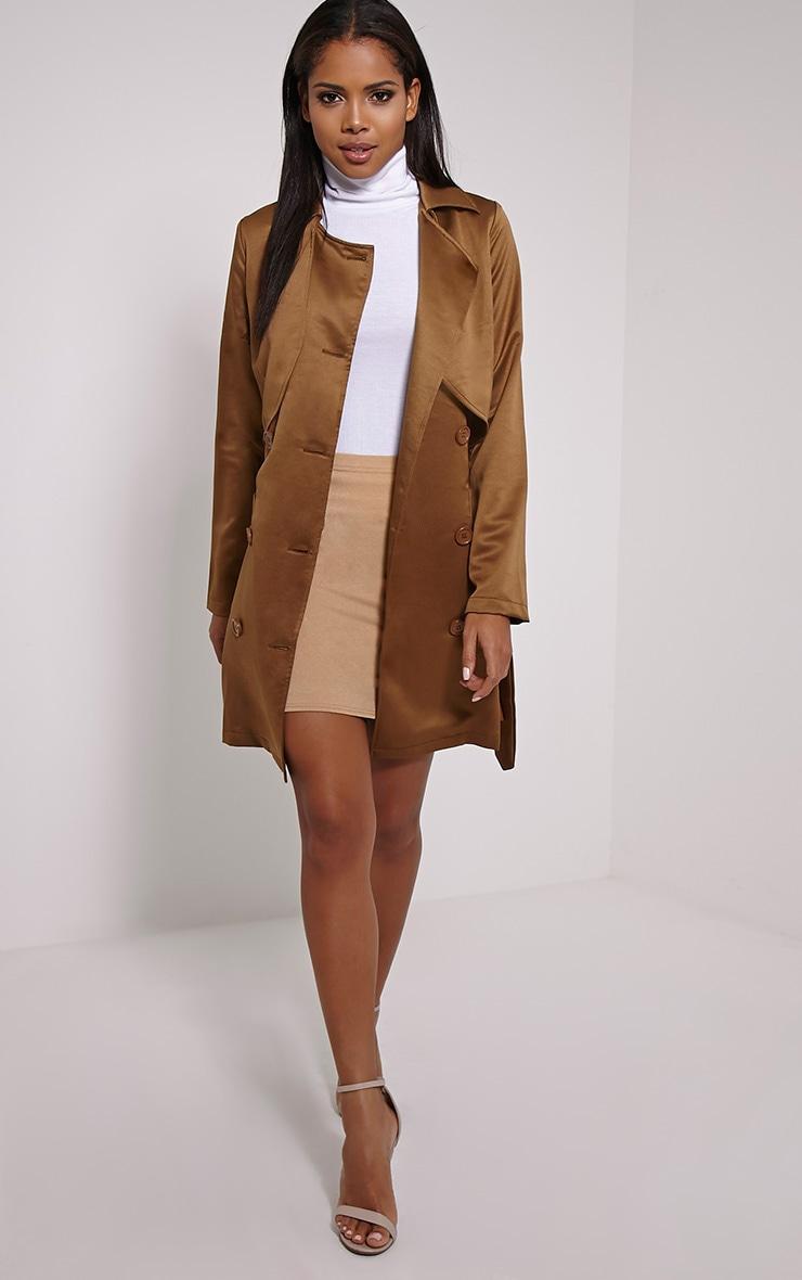 Almeria Khaki Satin Feel Trench Coat 4