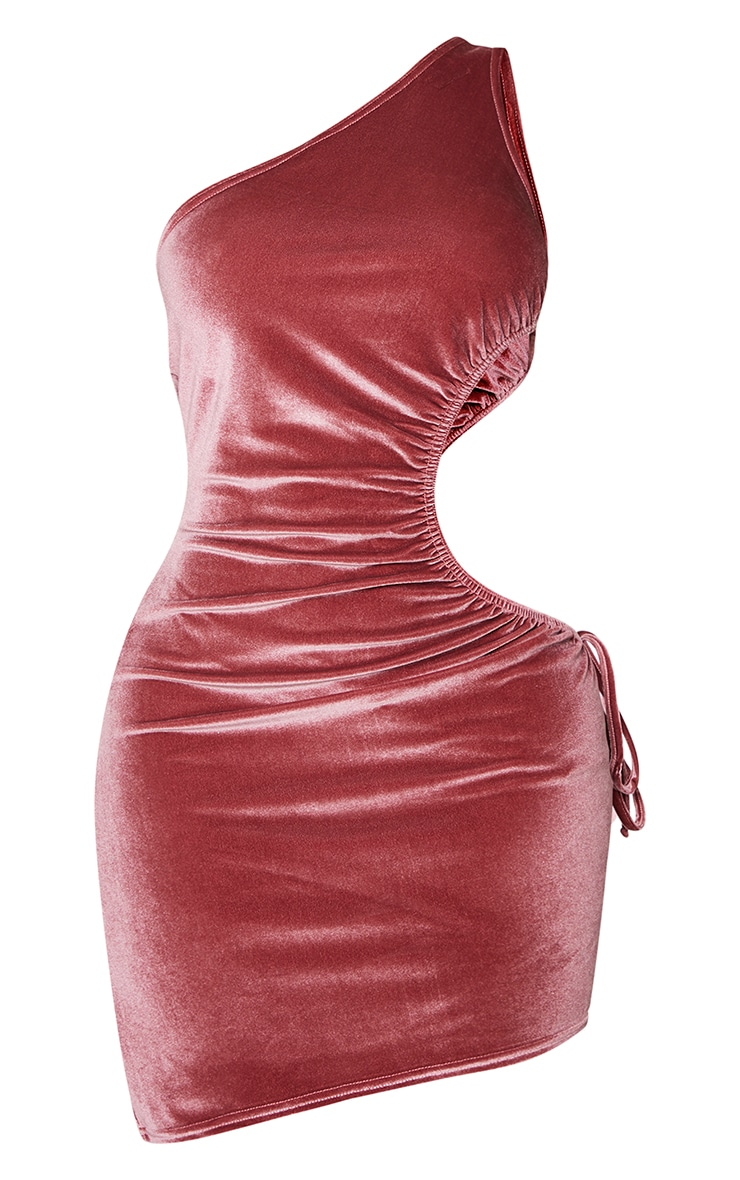 Shape Rose Velvet Ruched Cut Out Side Bodycon Dress 5