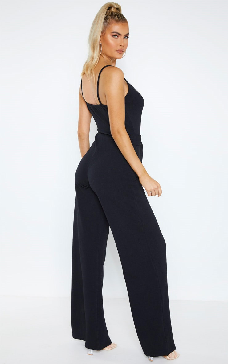 Tall Black O-ring Belt Jumpsuit  2
