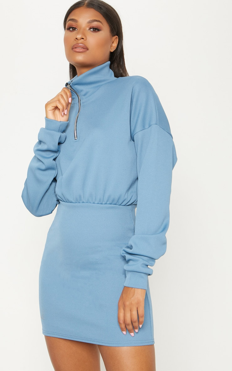 Blue Rib Zip Front Bodycon Jumper Dress