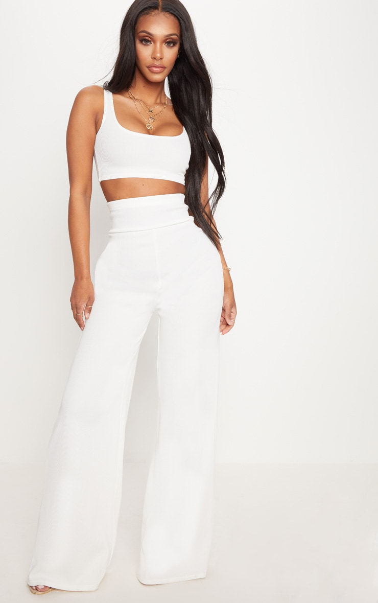 Shape White Bandage Extreme High Waist Wide Leg Trousers 1