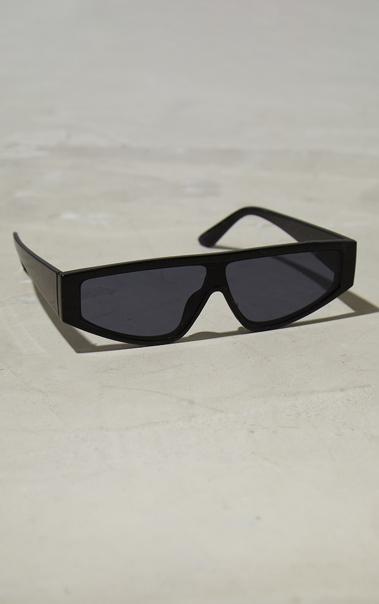 Black Slimline Visor Sunglasses 2