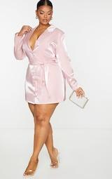 Plus Blush Shimmer Satin Tie Waist Blazer Dress 1