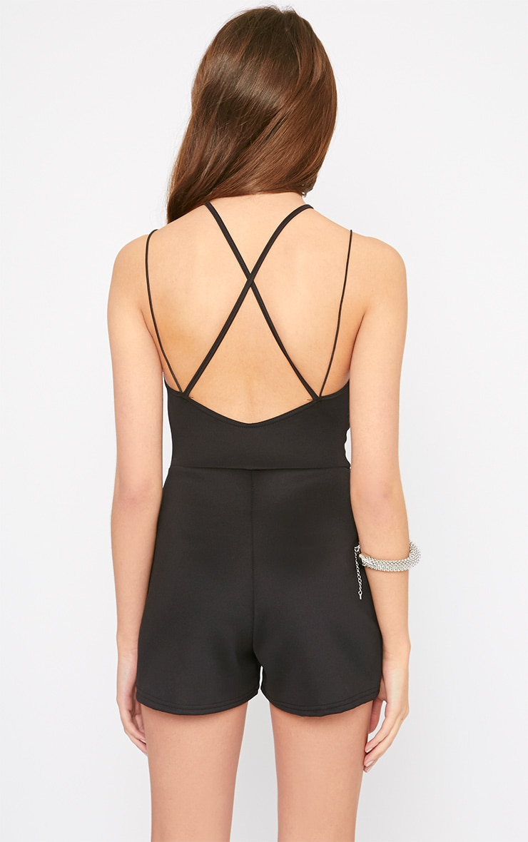 Adelita Black Mesh Insert Cross Back Playsuit 2