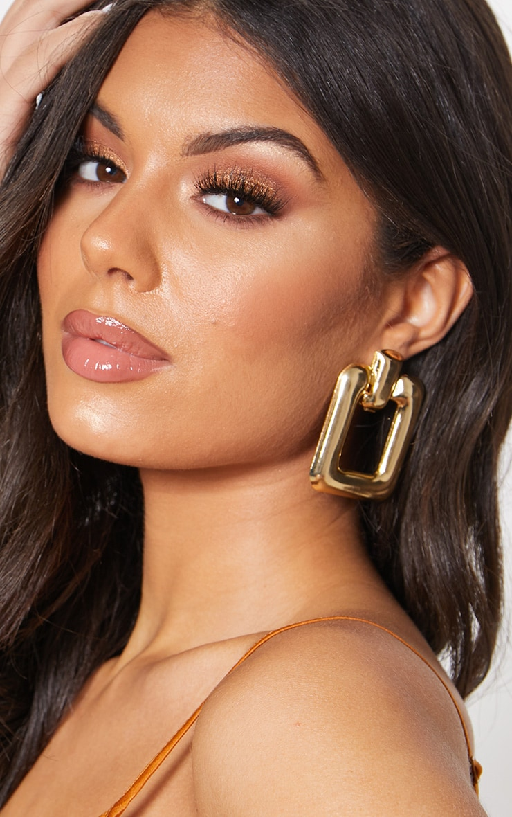 Gold Curved Rectangle Door knocker Earrings 1