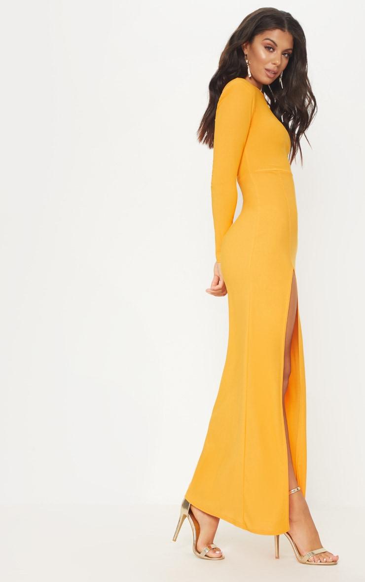 Papaya Shoulder Pad Extreme Split Maxi Dress 4