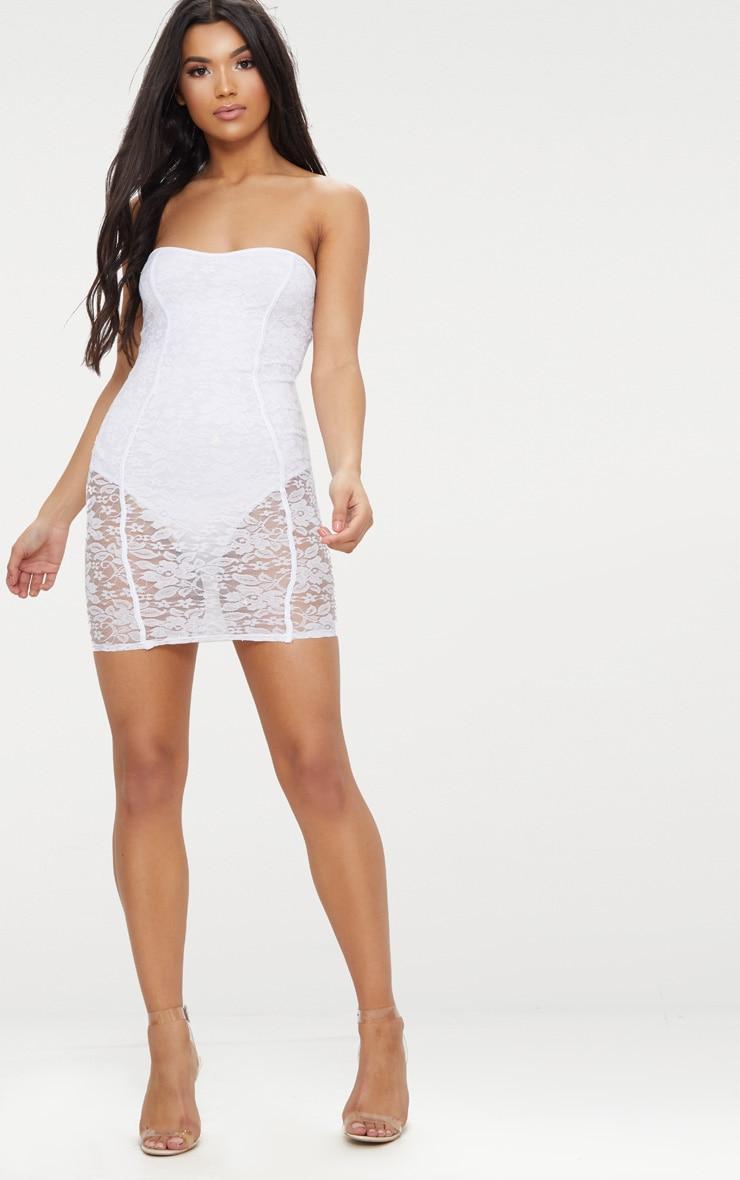 White Lace Bandeau Panelled Bodycon Dress 4