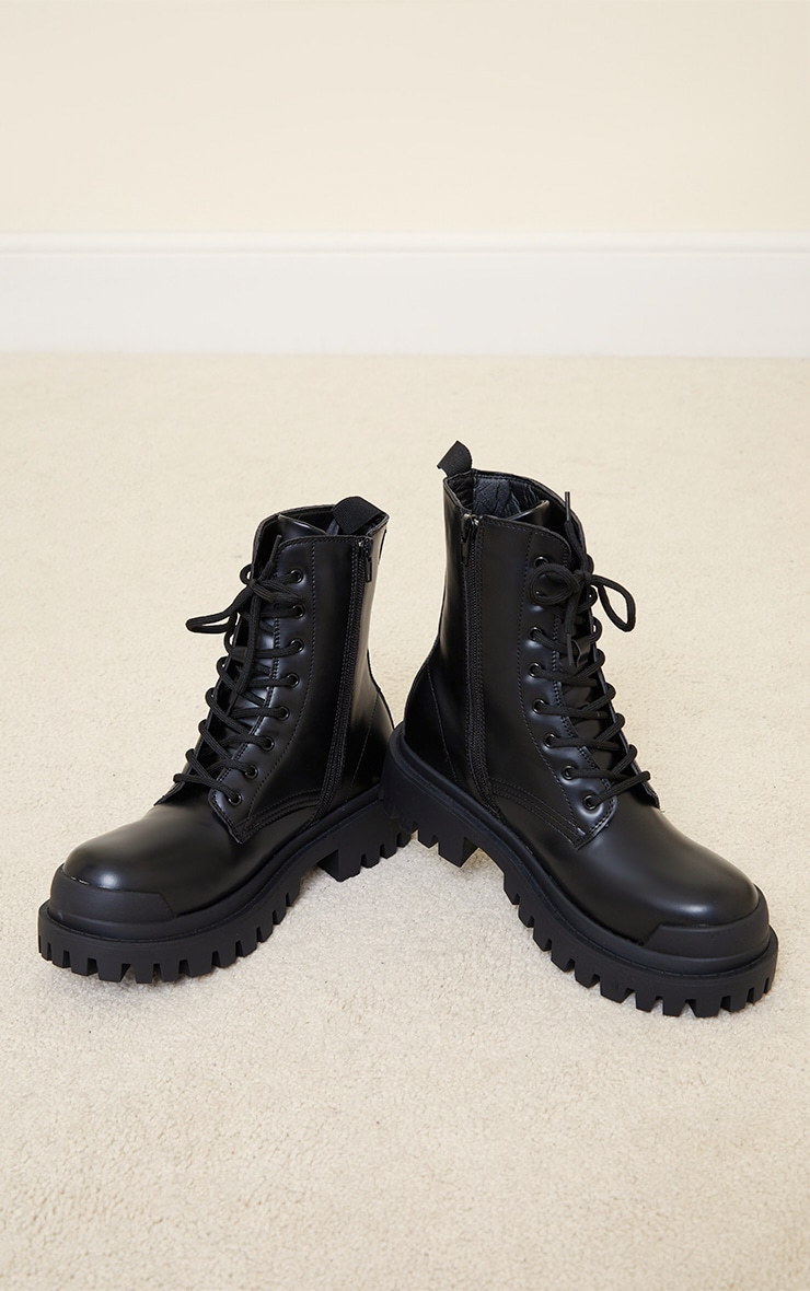 Black PU Lace Up Extreme Cleat Biker Ankle Boots 3