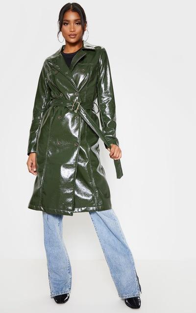Khaki Vinyl Crinkle Trench Coat