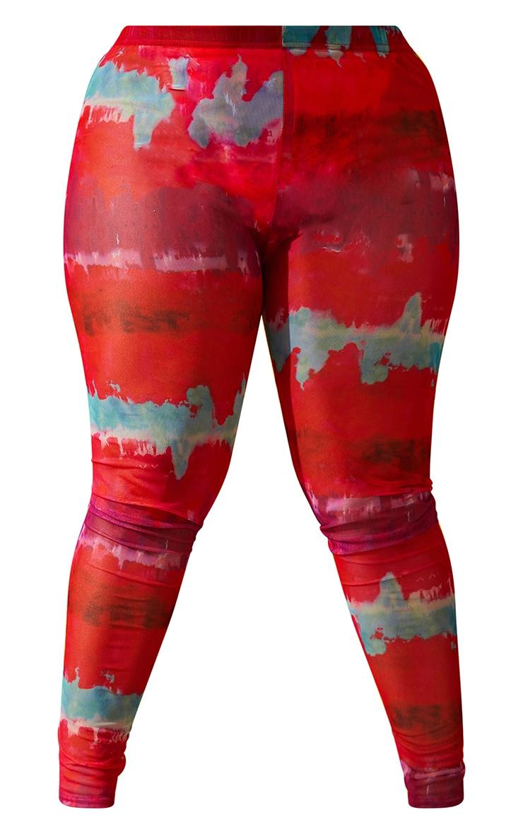 Plus Multi Printed Mesh Leggings 5