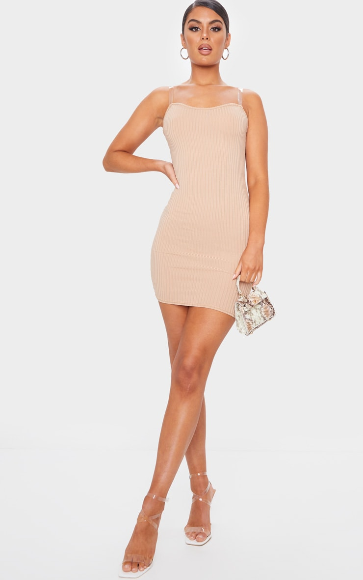 Stone Clear Strap Ribbed Scoop Back Bodycon Dress 3