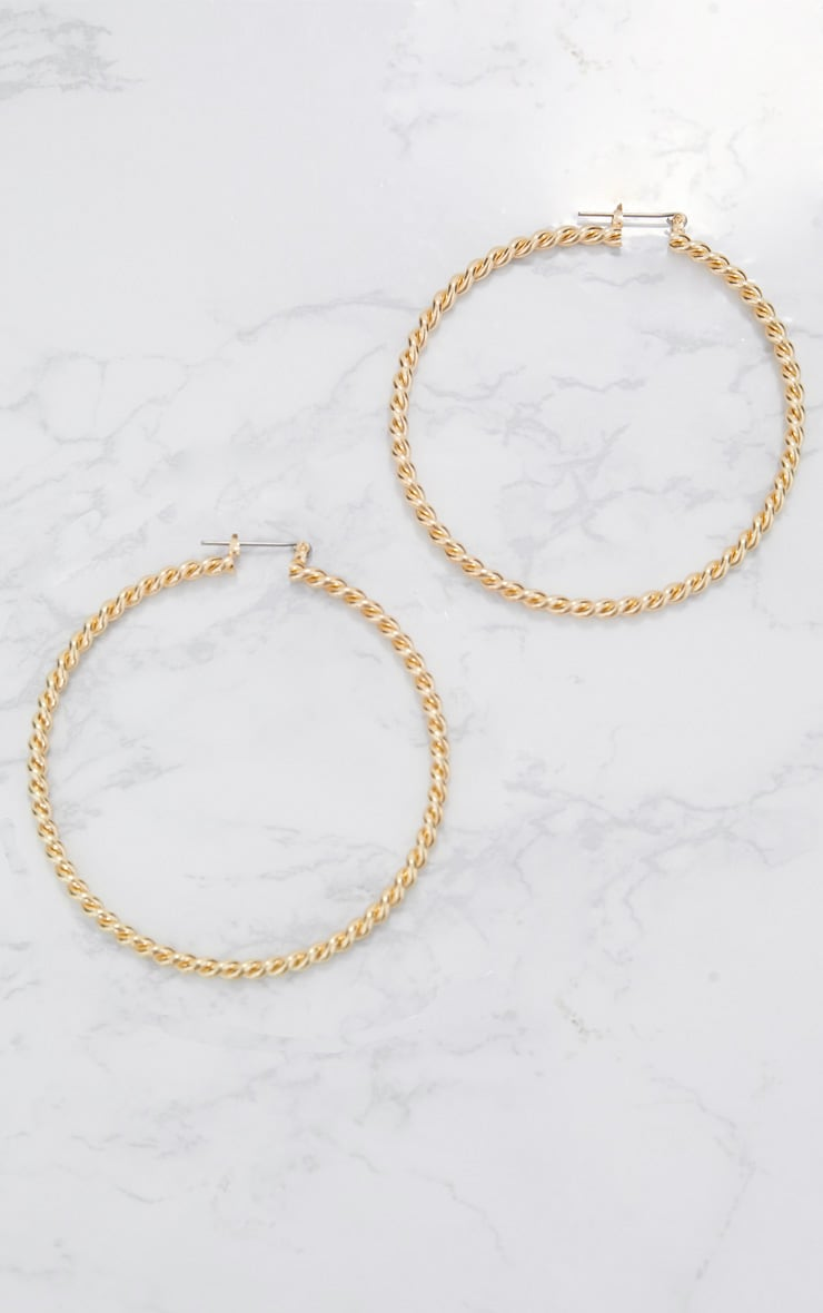 Gold Twisted Thin Hoop Earrings 3