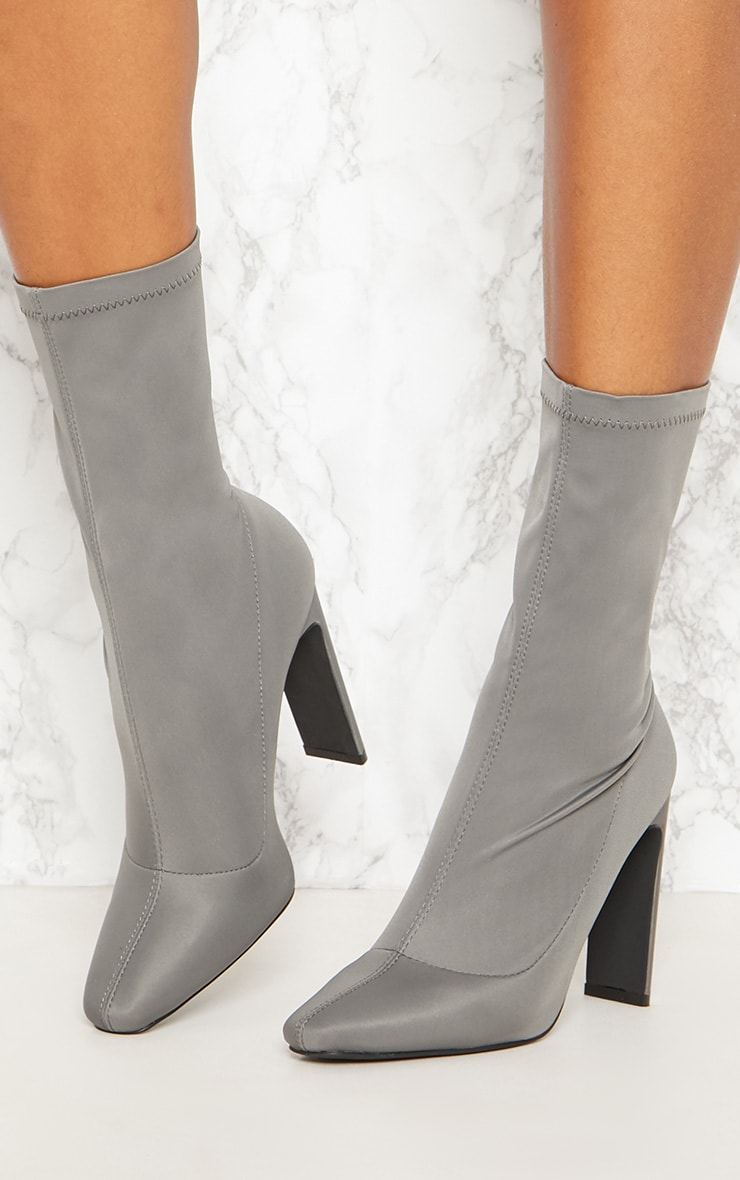 Charcoal Grey Lycra Heeled Ankle Boot 2