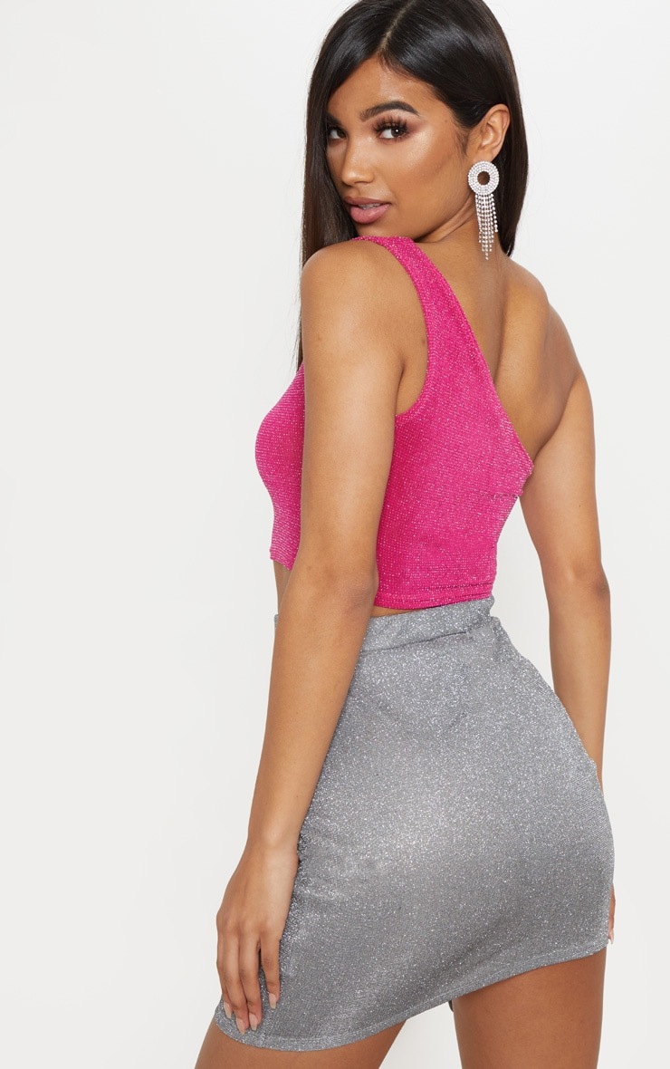 Hot Pink Glitter One Shoulder Crop Top 2