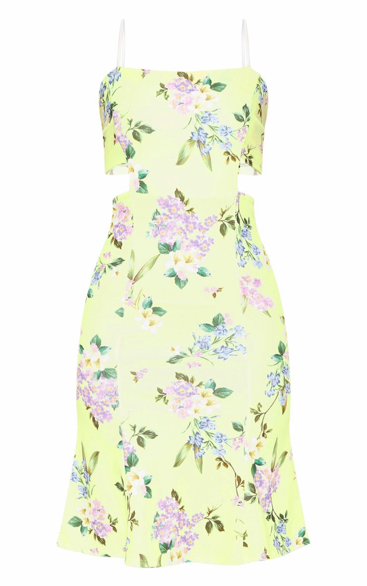 Yellow Printed Scuba Crepe Tie Back Midi Dress 3