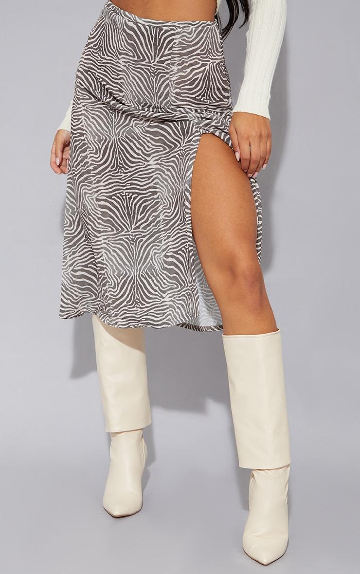 Brown Zebra Floaty Midi Skirt 2