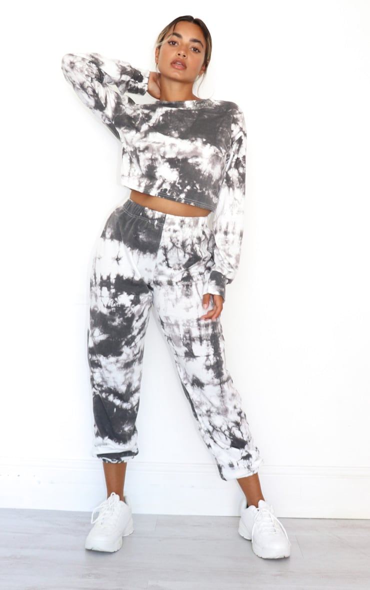Petite Black Tie Dye Cropped Sweat and Jogger Set 1