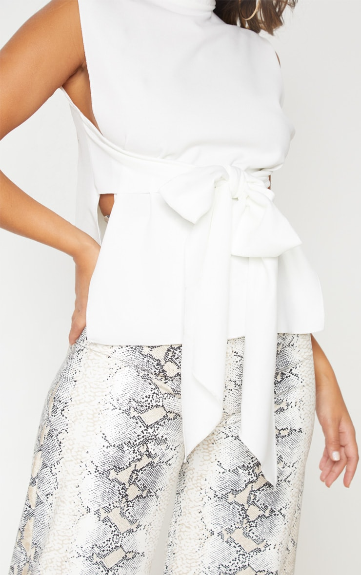 Ivory Textured Frill Front Sleeveless Blouse 3
