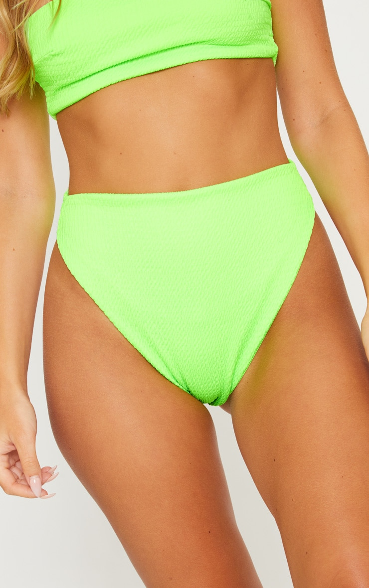 Lime Crinkle High Waisted High Leg Bikini Bottom 6
