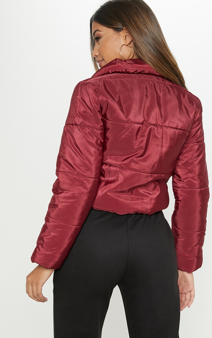 Burgundy Cropped Puffer 2
