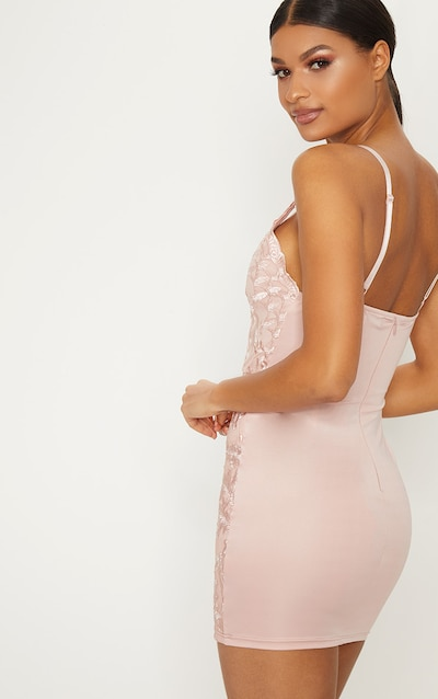 Dusty Pink Embroidered Lace Detail Plunge Bodycon Dress