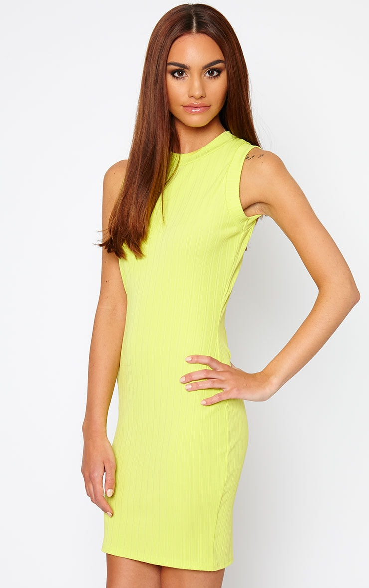 Stefany Lime Ribbed Mini Dress 5