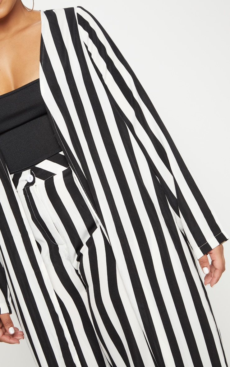 Plus Black Striped Longline Duster Jacket 5