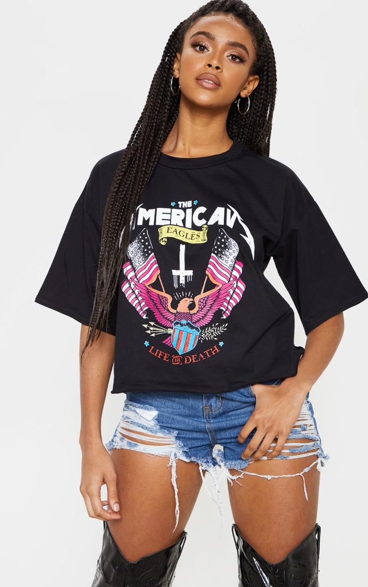 Black Printed Crop T Shirt 1