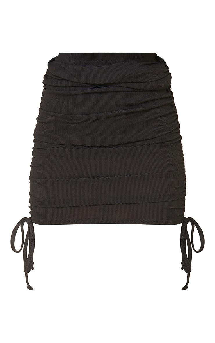 Black Ribbed Ruched Mini Skirt 6