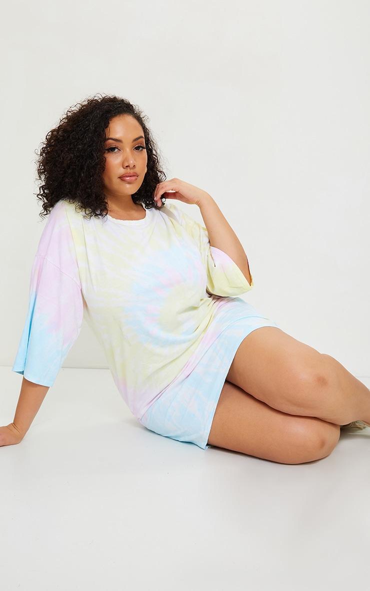 Plus Multi Tie Dye T Shirt Boyfriend Dress 1
