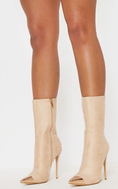 Nude Metal Toe High Point Ankle Boot