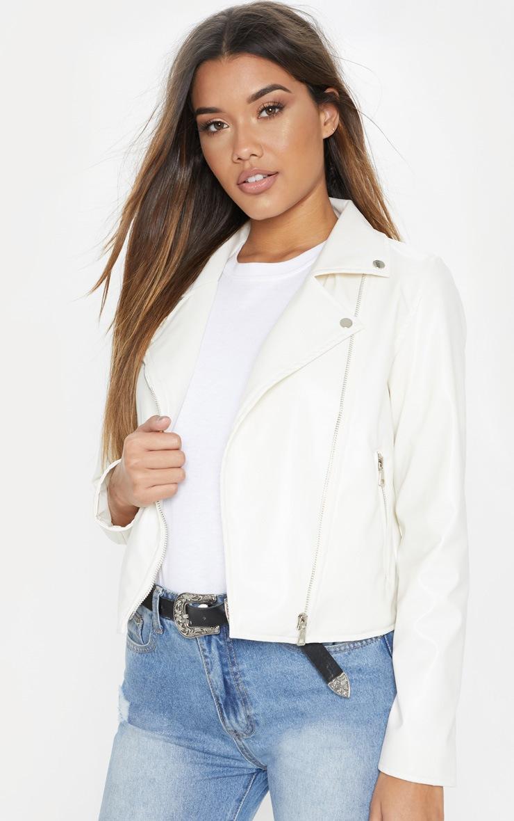 White PU Biker Jacket