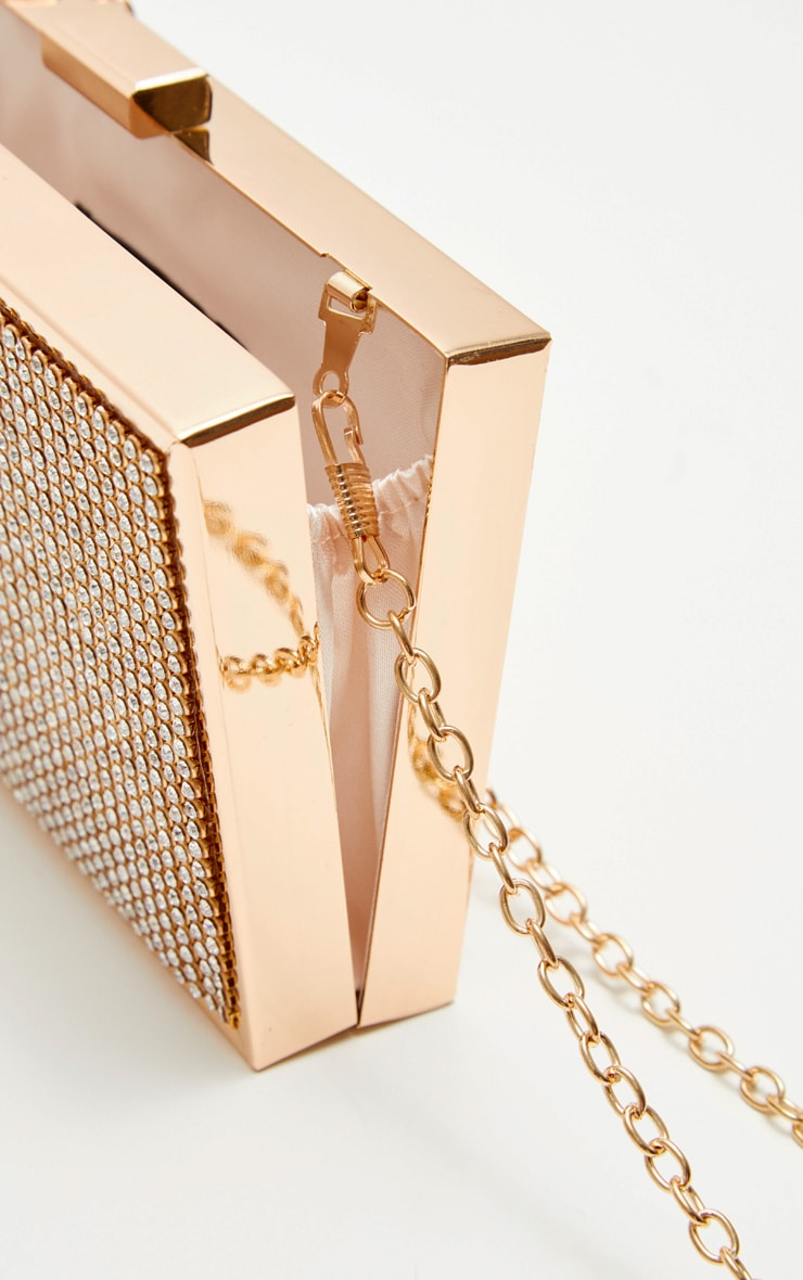 Gold Diamante Box Clutch 4