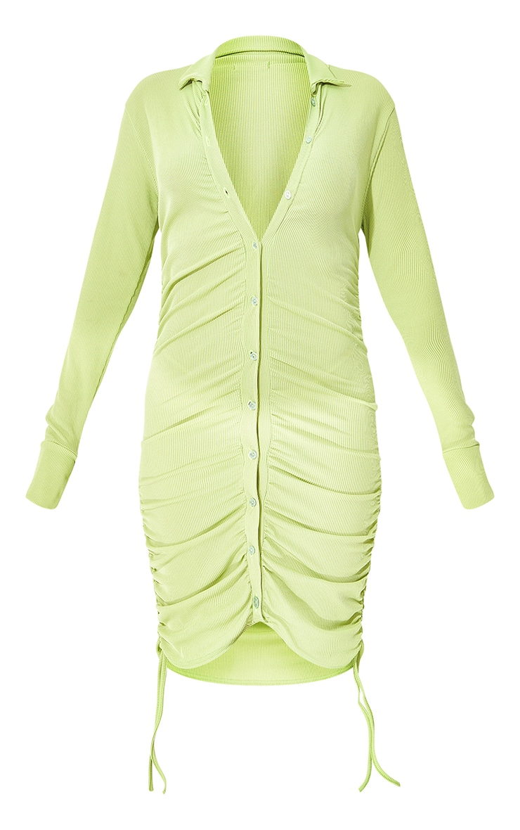 Lime Rib Ruched Collar Detail Bodycon Dress 5