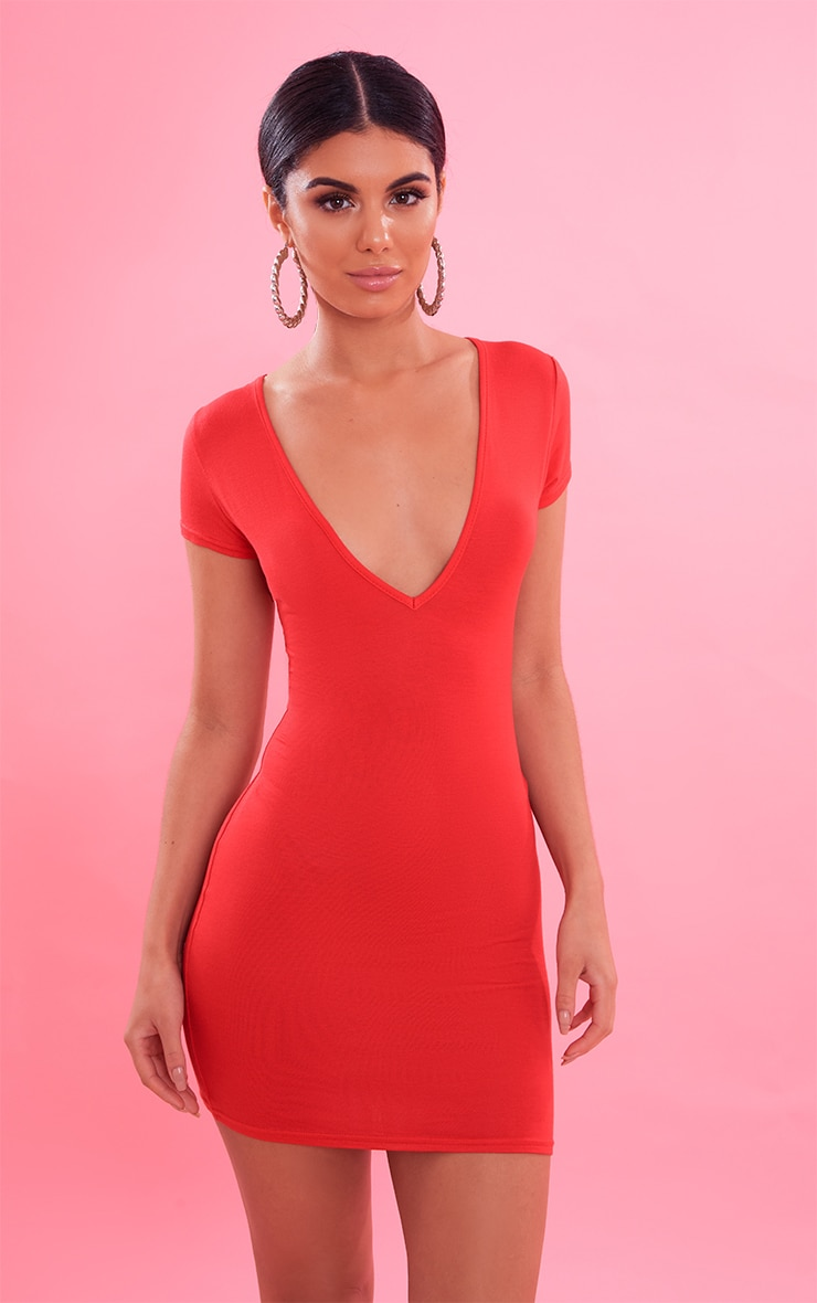 Red Plunge Front Cap Sleeve Bodycon Dress 5